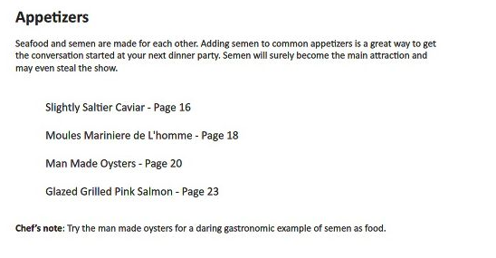 A collection of semen based recipes